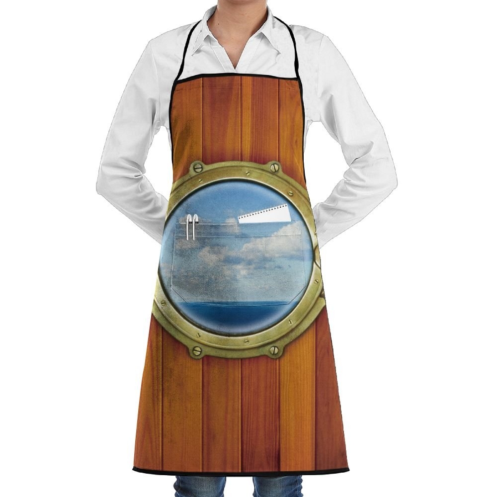 Grill Aprons Kitchen Chef Bib - SarahKen Porthole On The Wooden Background Window Ship At The Old Sailing Vessel Professional For BBQ Baking Cooking For Men Women Pockets