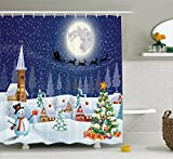 Snowman Shower Curtain Christmas Shower Curtain by Ambesonne, Winter Season Snowman Xmas Tree Santa Sleigh Moon Present Boxes Snow and Stars, Fabric Bathroom Decor Set with Hooks, 70 Inches, Blue White