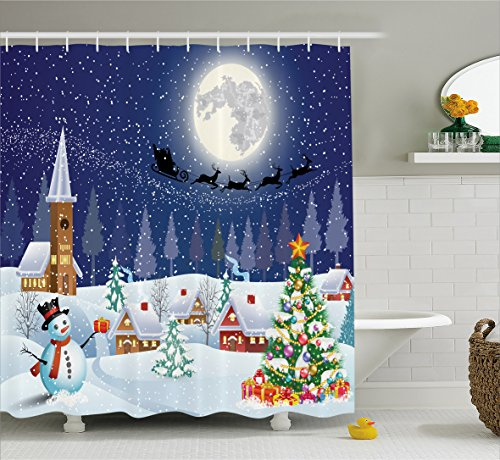 (Ambesonne Christmas Shower Curtain, Winter Season Snowman Xmas Tree Santa Sleigh Moon Present Boxes Snow and Stars, Fabric Bathroom Decor Set with Hooks, 70 Inches, Blue White)
