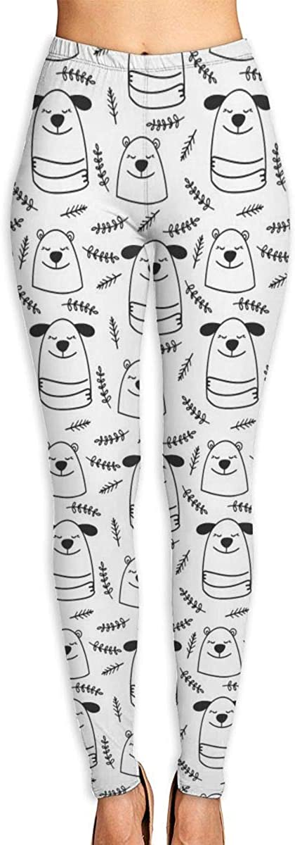Merahans Doodle Line Dogs and Bears Womens Printed Yoga Pants High Waisted Workout Leggings