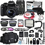 Canon EOS Rebel T6i DSLR Camera Bundle with Canon 18-55mm STM Lens and Tamron 70-300mm Di LD Zoom Lens + Professional Video Accessory Bundle includes ECKO Headphones, Microphone, LED Light and More.
