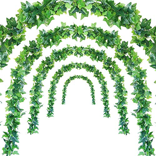 (JUSTOYOU 5Pcs 44Ft Artificial Ivy Leaf Garland Plants Vines with Leaves Hanging Greenery Fack Ivys Vines for Wedding Outside Party Home Decor)