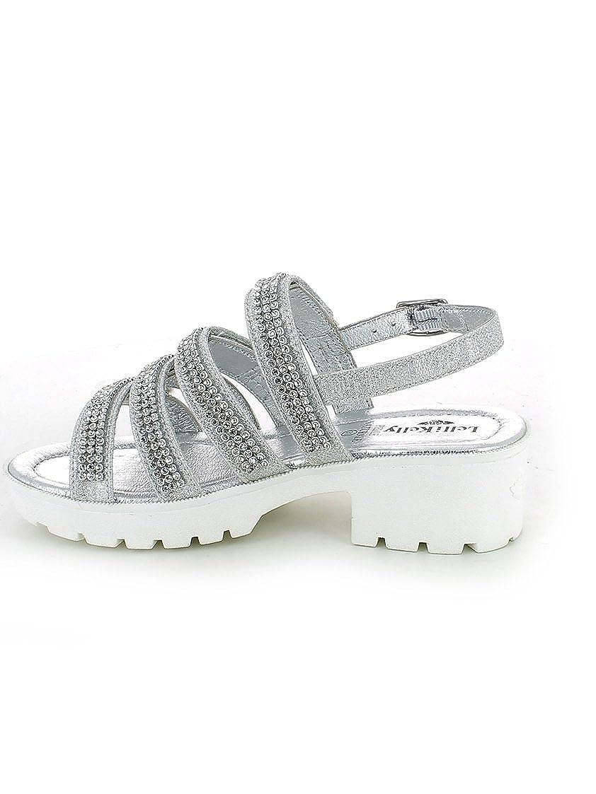 LELLI KELLY - Weiße Sandale aus Leder, mit einem den charmanten Design, auf den einem vorderen Bändern Strass-Applikationen, Mädchen Silber / Schwarz 131810