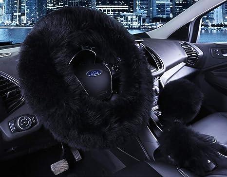 amazon com universal 3 in 1 furry steering wheel cover genuine wooluniversal 3 in 1 furry steering wheel cover genuine wool fur handbrake cover fit most car