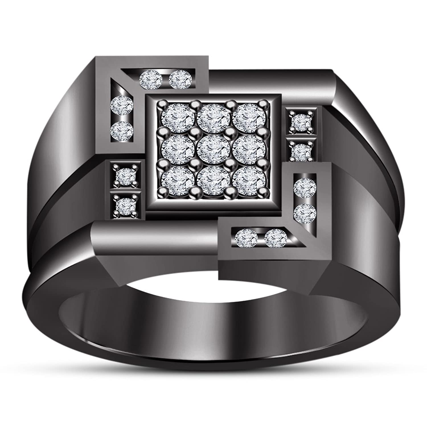 TVS-JEWELS 925 Sterling Silver Black Rhodium Plated Cubic Zirconia In Round Cut Particular Mens's Ring