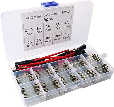 250V 0.5A-30A Fuse Holders Electronic Glass Tube Fuses Assorted Kit Accessories