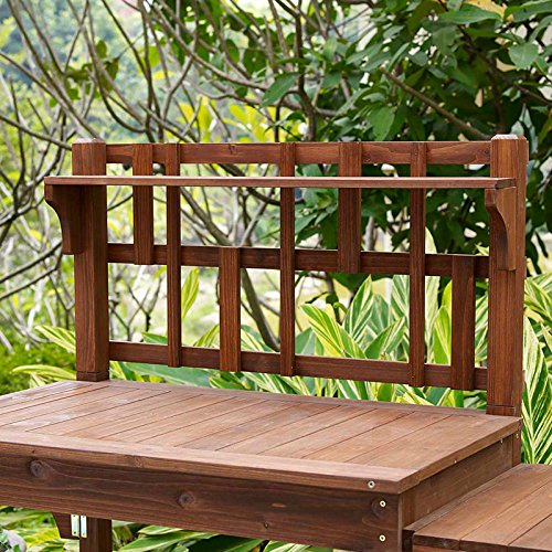 Garden Potting Bench with Storage Shelf Wood Outdoor Large Work Table plans Gardening Planting Station- Brown by Coral Coast (Image #1)