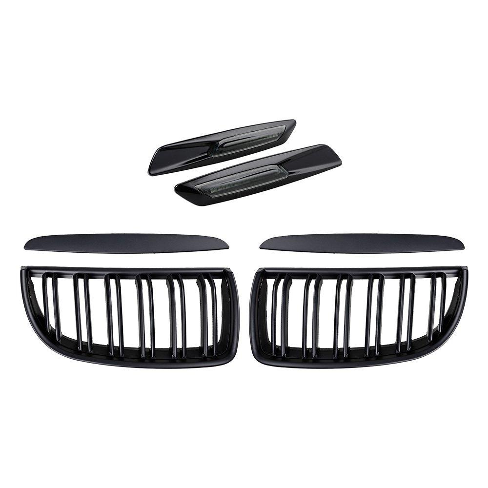 2X Euro Front Upper Kidney Grille Grill LH RH Kit Replacement for BMW Car E90 Pre-Facelift (Matte Black (Double Line), w/Carbon Fiber Pattern Side Marker)