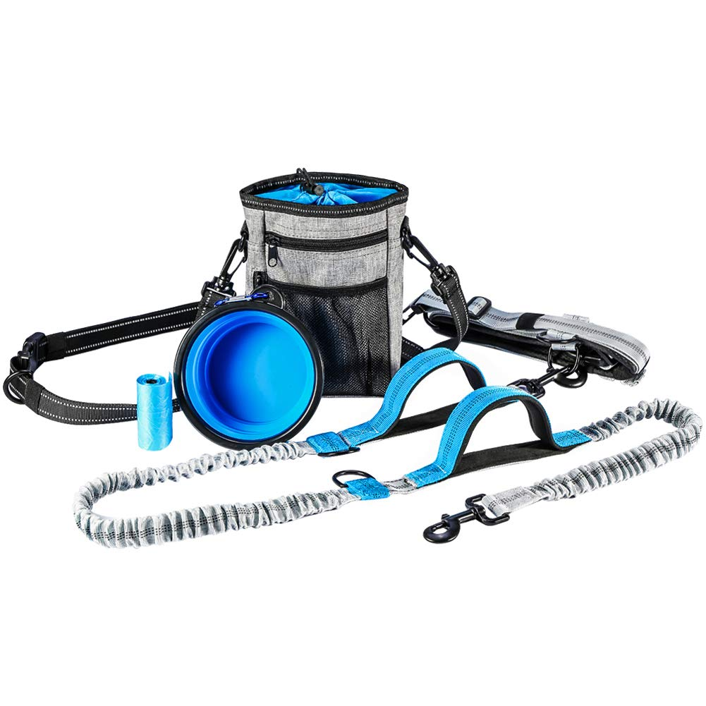 YOUTHINK Hands Free Dog Leash, with Training Treat Pouch, Reflective Shock Bungee Endure Up to 150 lbs, Comfort & Safe Dual Handle Waist Belt Collapsible Water