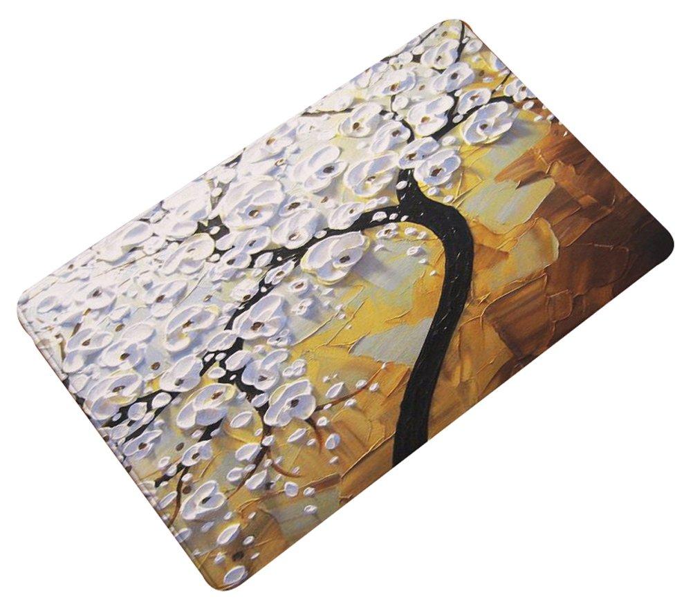 Multi-Size Oil Painting Floral Area Door Mat Floor Rug Runner Flannel SkidproofLivebyCare Doormat Entry Carpet Decor Front Entrance Indoor Outdoor Matsfor Parlour Halloween Party Hotel COMIN18JU080829
