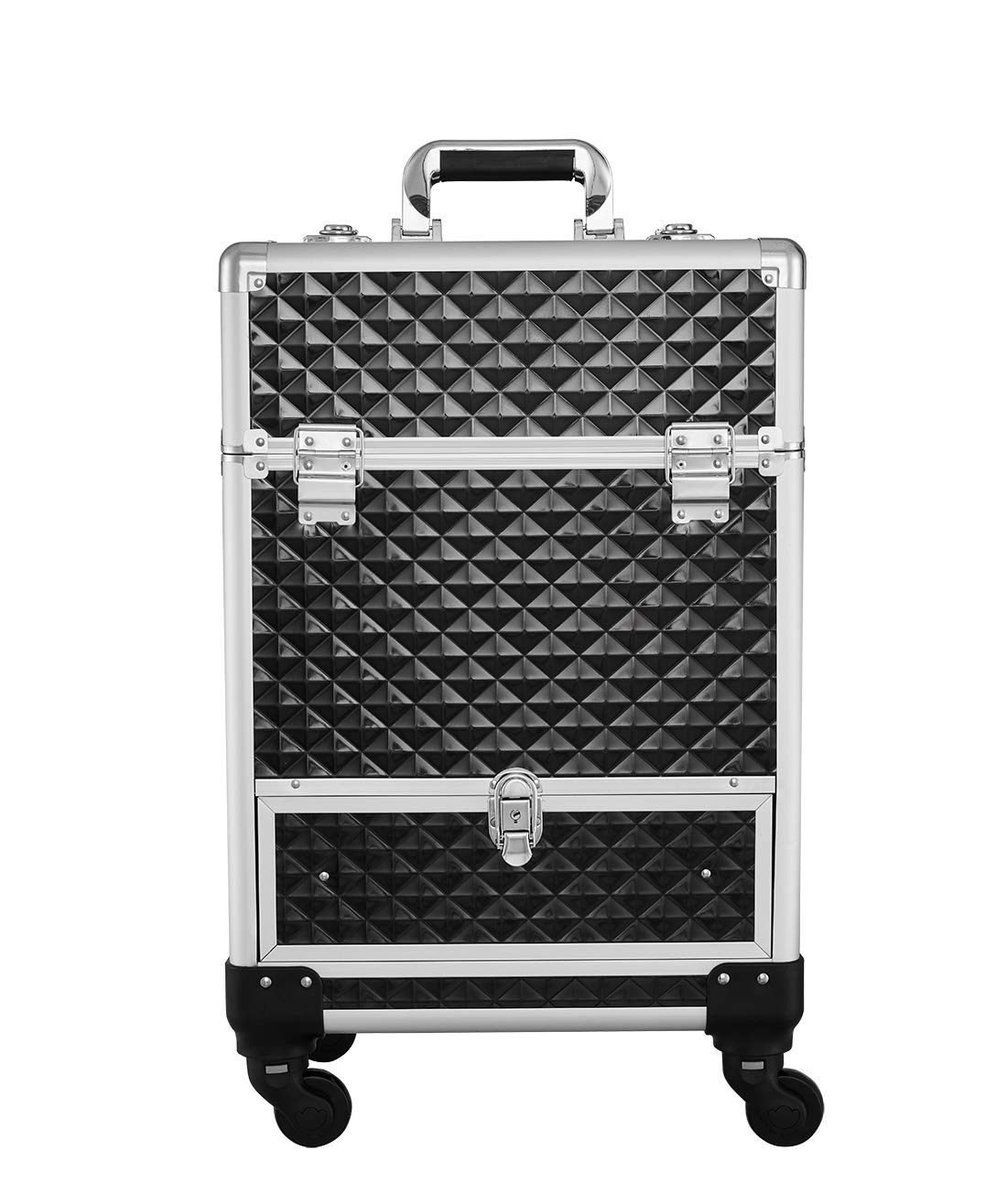 Makeup Case - Professional Rolling Cosmetic Travel Storage With Folding Trays and Drawer Crystal Black