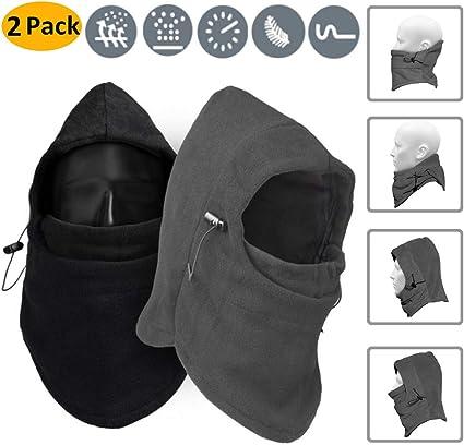 Máscara de esquí Balaclava, 2 Pack Windproof Fleece Hood Cuello ...