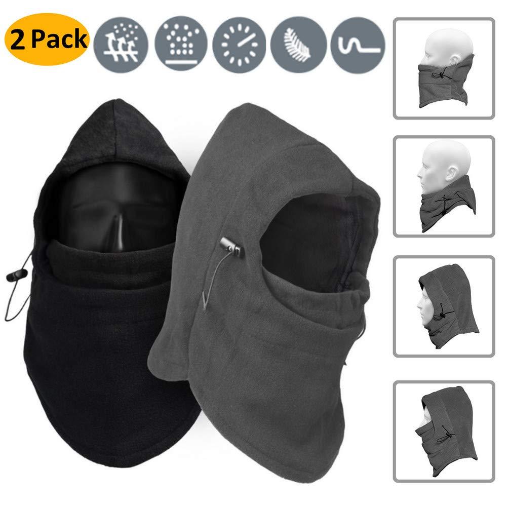 Passamontagna Maschera da sci, 2 pacco cappello antisdrucciolevole del manicotto del coperchio del cappuccio del coperchio del cappuccio di inverno per esterni da AumoToo, Nero+Grigio AT-Mask-02