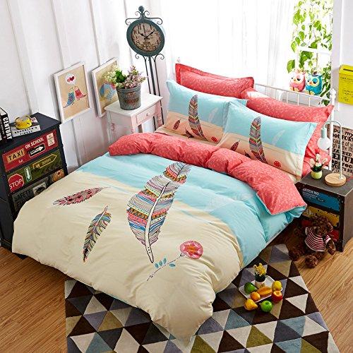TheFit Paisley Textile Bedding for Adult U968 Pink Feather Bohemian Duvet Cover Set 100% Cotton, Twin Queen Set, 3-4 Pieces (Queen)
