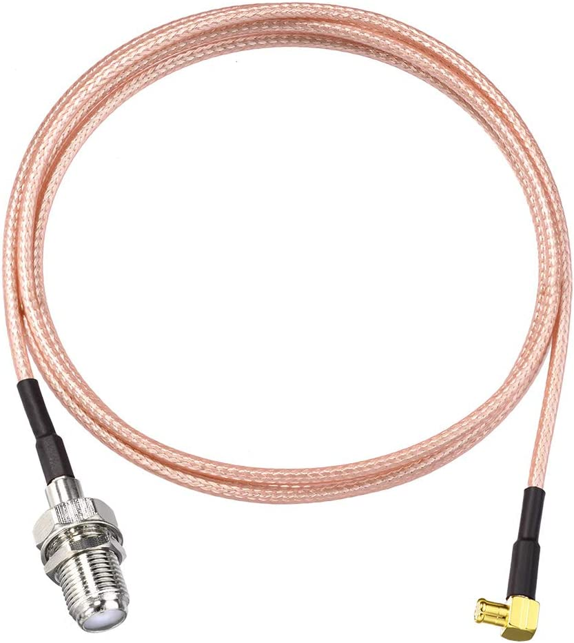 2Pcs MCX Male Right Angle to F Female RG316 Coaxial Cable Assembly for Portable TV//InfiniTV//Tuner Antenna Receiver SUPERBAT MCX to F Cable Pigtail 39 Inch