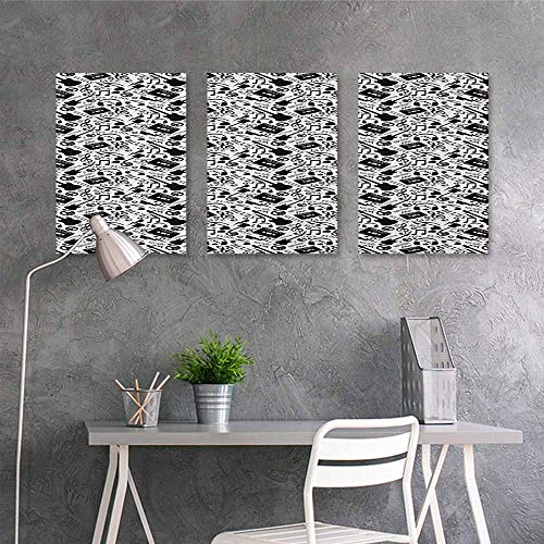 Pattern oil painting Art sticker,Music Blues Jazz Punk Rock Various Type of Folk Indie Rap Reggae Peace Sign Sing Artwork,for Living Room,Dinning Room, Bedroom 3 panels,24x35inchx3pcs Black White -