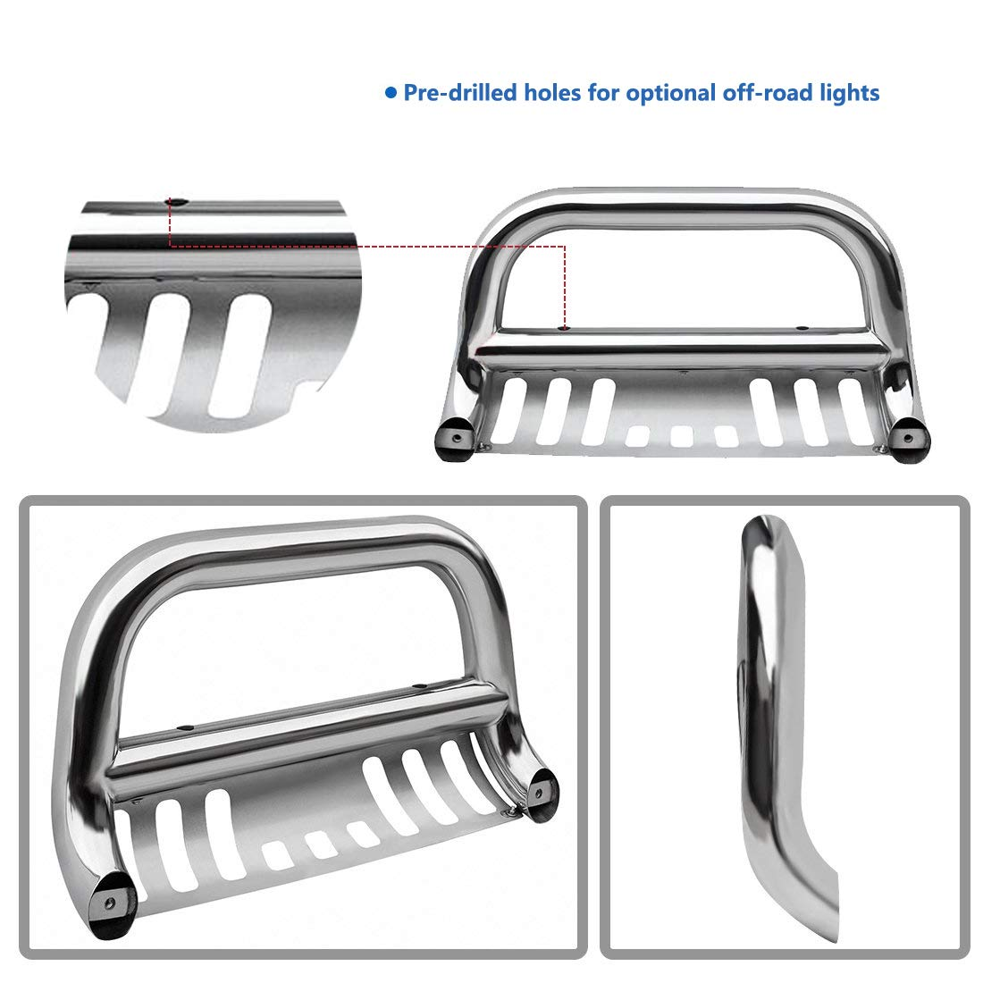 TRIL GEAR Stainless Steel Bumper Brush Push Bull Bar Compatible with 16-19 Toyota Tacoma Grille Guard with Skid Plate Silver