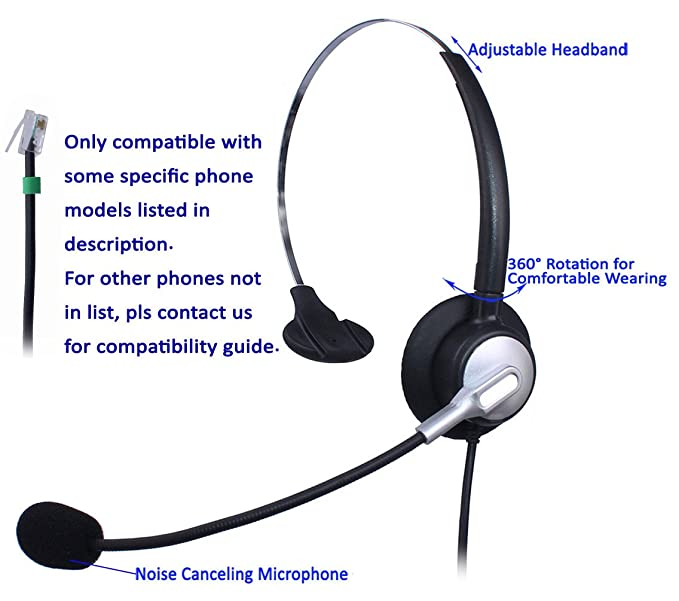 Wantek Wired Call Center Telephone Headset Headphone With Mic For NEC Aspire DT300 DSX Polycom 335 400 Avaya 1416 Aastra 6757i Mitel 5330 ShoreTel