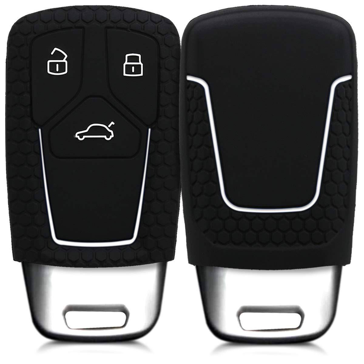 de Negro//Rojo Solamente Keyless Go Suave Silicona - Carcasa Protectora - Case Mando de Auto kwmobile Funda de Silicona para Llave Smartkey de 3 Botones para Coche Audi