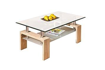 Inter Link 19400020 Couchtisch Glas Sonoma Eiche Tisch Wohnzimmertisch Beistelltisch 110x60 Cm Neu