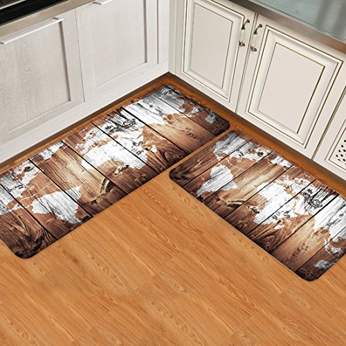 Infinidesign 2 Piece Kitchen Rubber Backing Non-Slip Bath Rugs Runner Doormat Set - Retro Monochrome Wood Grain World Map Runner Carpet Set - 19.7''x31.5''+19.7''x63'' by Infinidesign (Image #2)