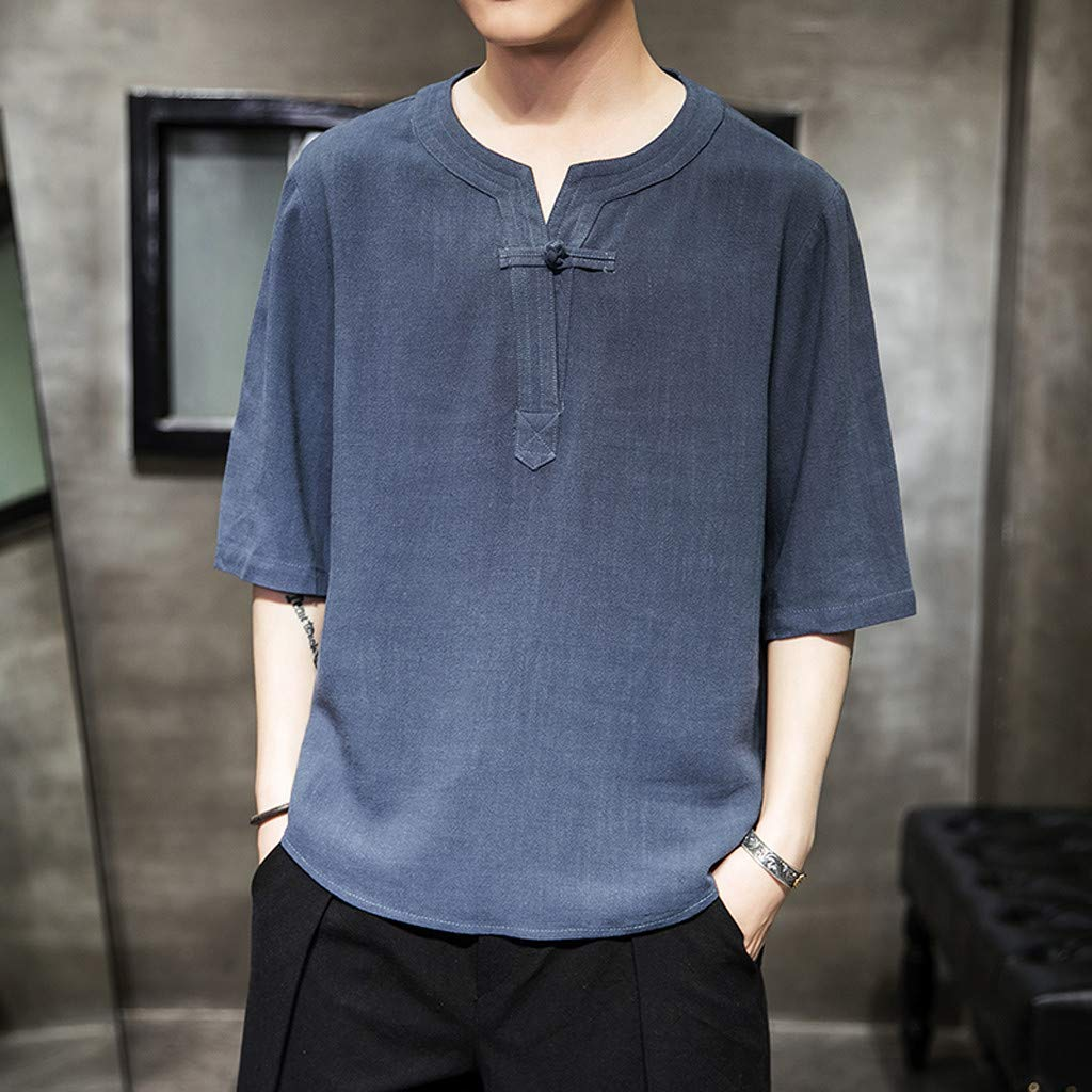 LEKODE Mens Shirt Baggy Linen T-Shirt Stripes Tee Short Sleeve Retro Tops Blouse