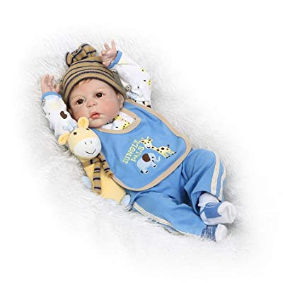 Zero Pam Life Like Baby Reborn Dolls Boy Silicone Full Body 22 inch 57cm Real Toddler Bebe Doll Can Bath with ( Bottle Toy, Magnet Pacifier ,Clothes ,Puppet Toy Safety Tested for 3+: Toys & Games