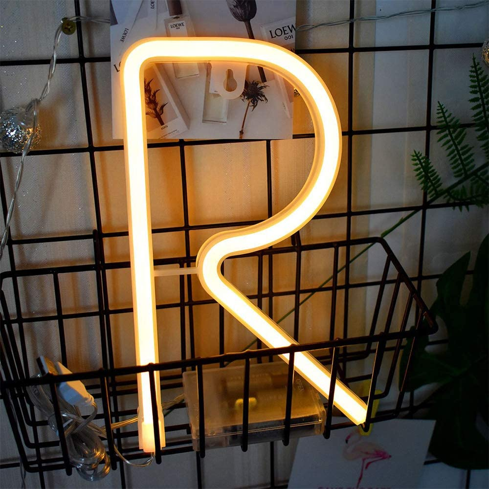 Letter Neon Lights Warm White LED Neon Word Signs Battery/USB Operated Neon Letter R Alphabet Neon Sign Art Lights Neon Words Wall Light Light up Girls' Room Wedding Birthday Party Christmas Home (R)