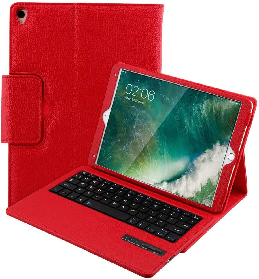 Apple Smart Keyboard for iPad Pro 10.5 / iPad Air 3 10.5 (3rd Gen) / iPad 10.2 (7th Gen) 2019 Keyboard Case,Magnetic Detachable Wireless Bluetooth Keyboard Multi-Angle Leather Protective Cover (Red)