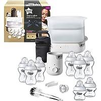Tommee Tippee Essentials Starter Kit with Steriliser Baby Feeding Bottles Bottle Cleaning Brush and Bottle Warmer