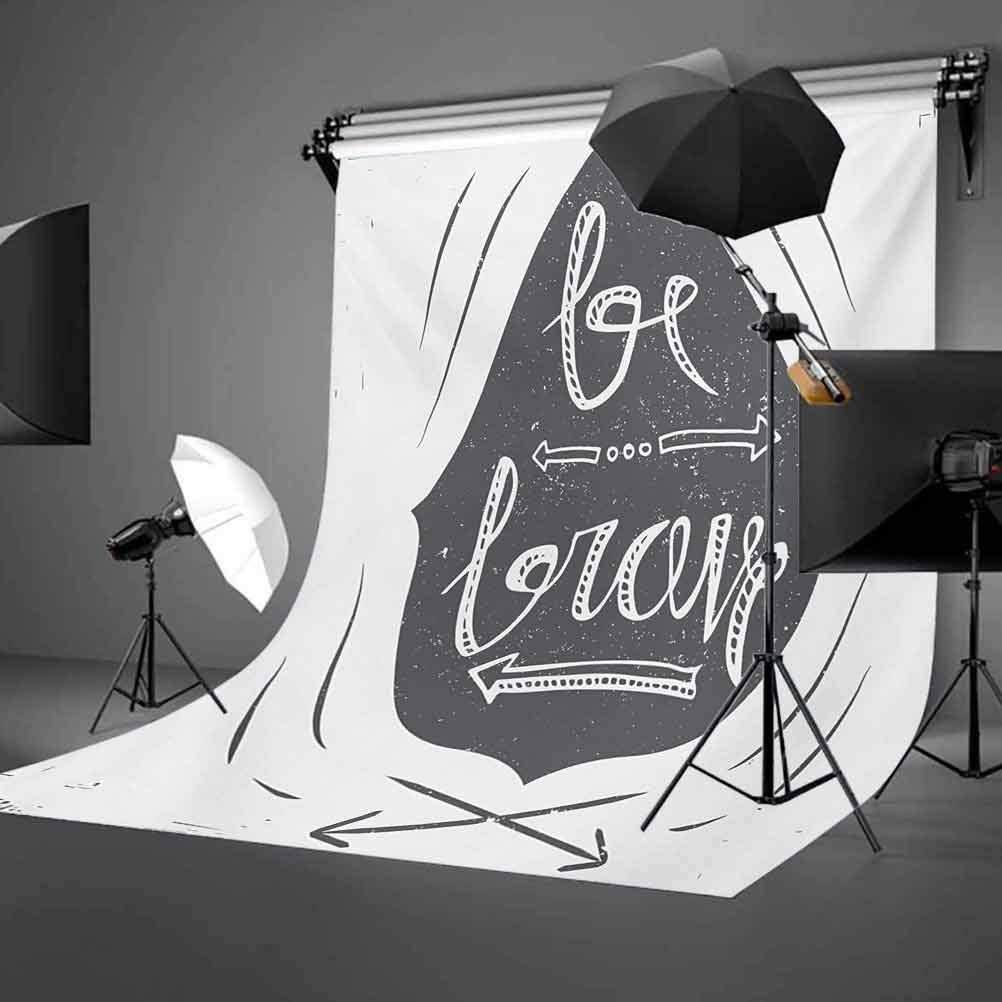 Quote 10x12 FT Photo Backdrops,Greyscale Composition of Arrows Dots Inspirational Be Brave Inscription Background for Kid Baby Boy Girl Artistic Portrait Photo Shoot Studio Props Video Drape Vinyl