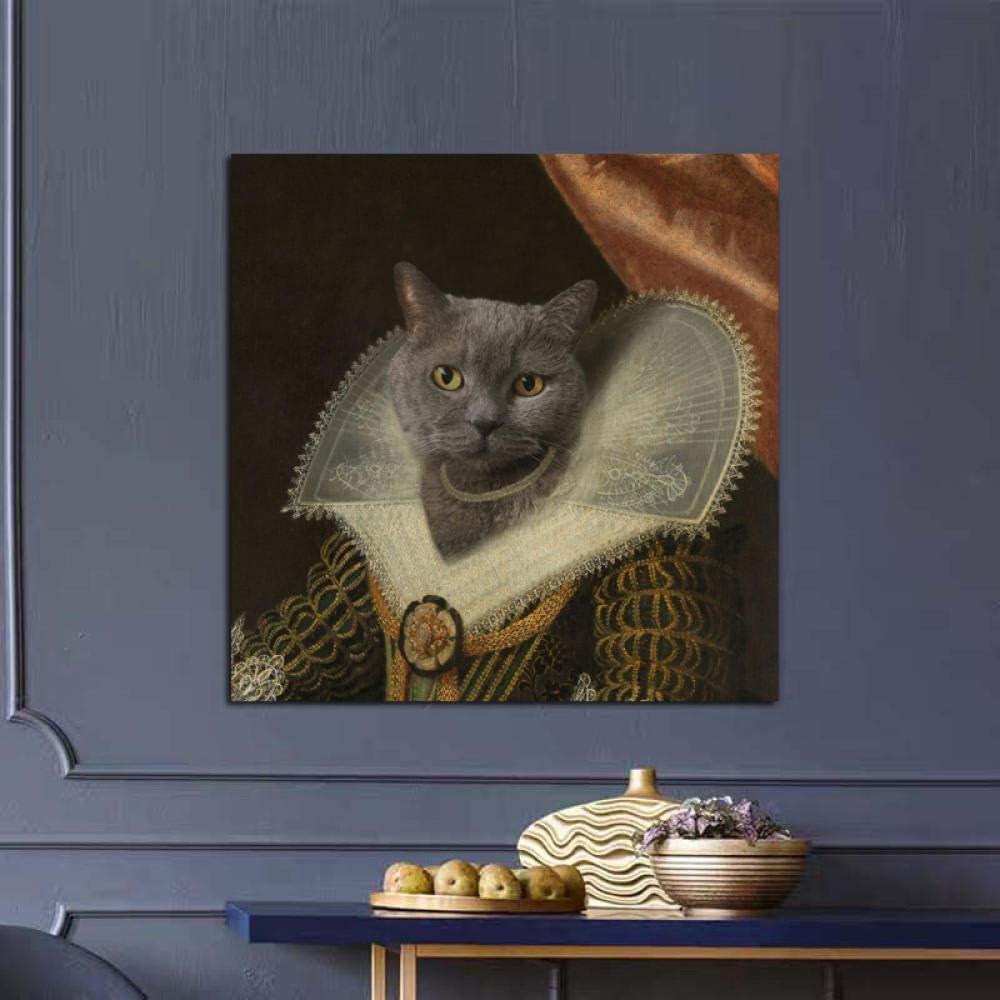 Europa lienzo pintura gato princesa reproducciones de pintura al óleo sobre lienzo carteles e impresiones cuadro de arte de pared sala de estar decoración del hogar-50x50cm 20x20 pulgadas (sin marco)