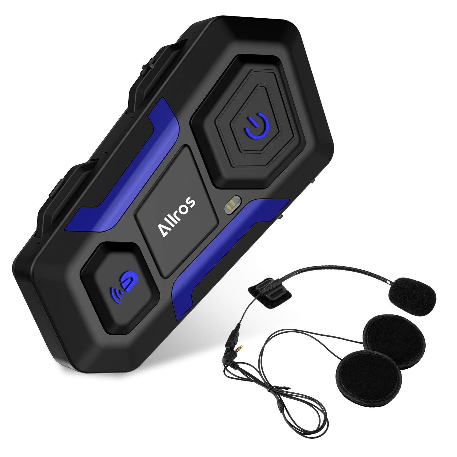 ALLROS T10 Bluetooth 3.0 Motorcycle Helmet Intercom Wireless Communication Headset Supports up to 3 Riders Hands-Free Group Call Communication for Motorbike Bike ATV Car Skiing Single Headset