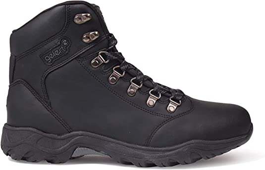 black leather walking boots mens