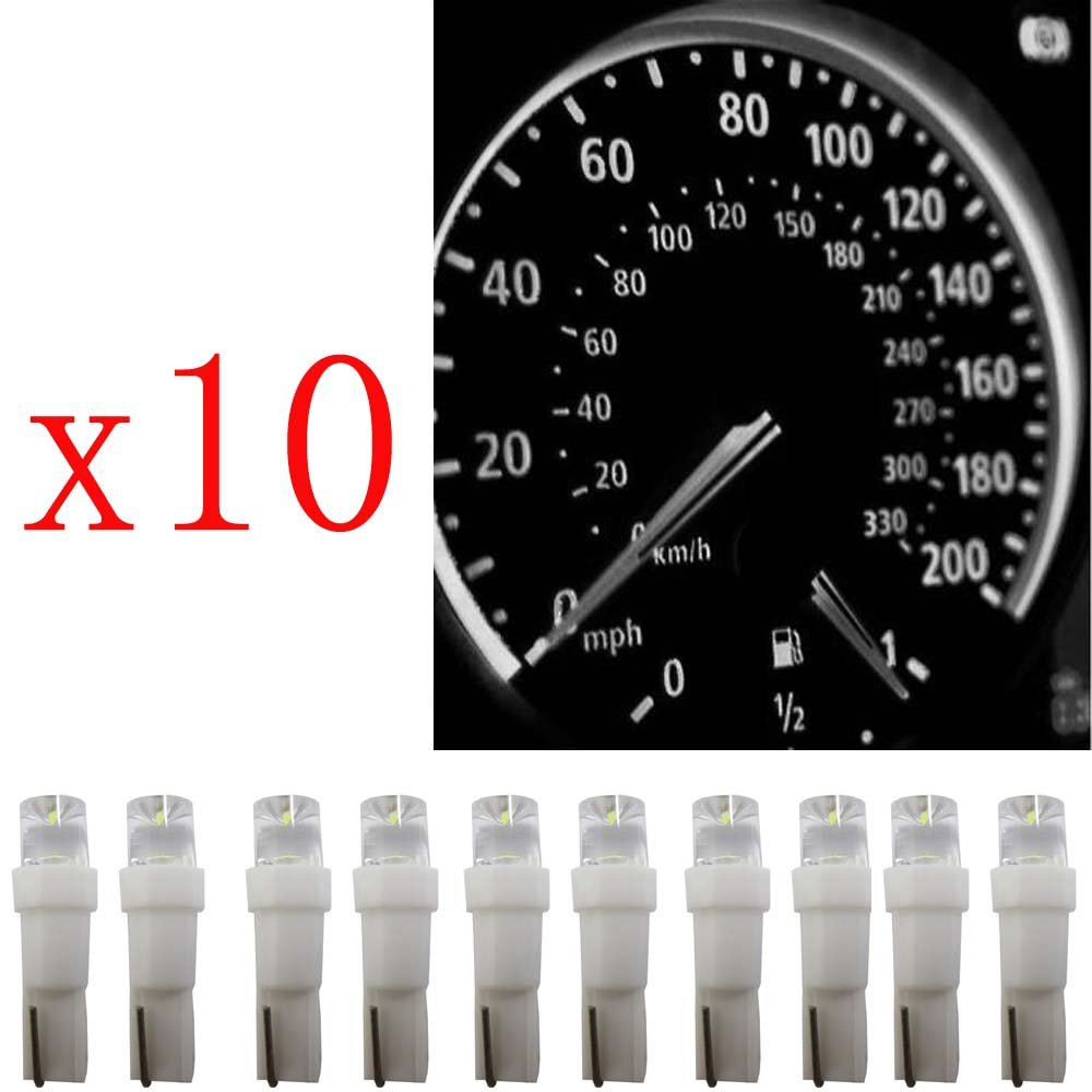 Ancdream 20Pcs 12v 1.2w T5 5mm Super Bright White LED Wedge Car Dashboard Speedo Bulb 286