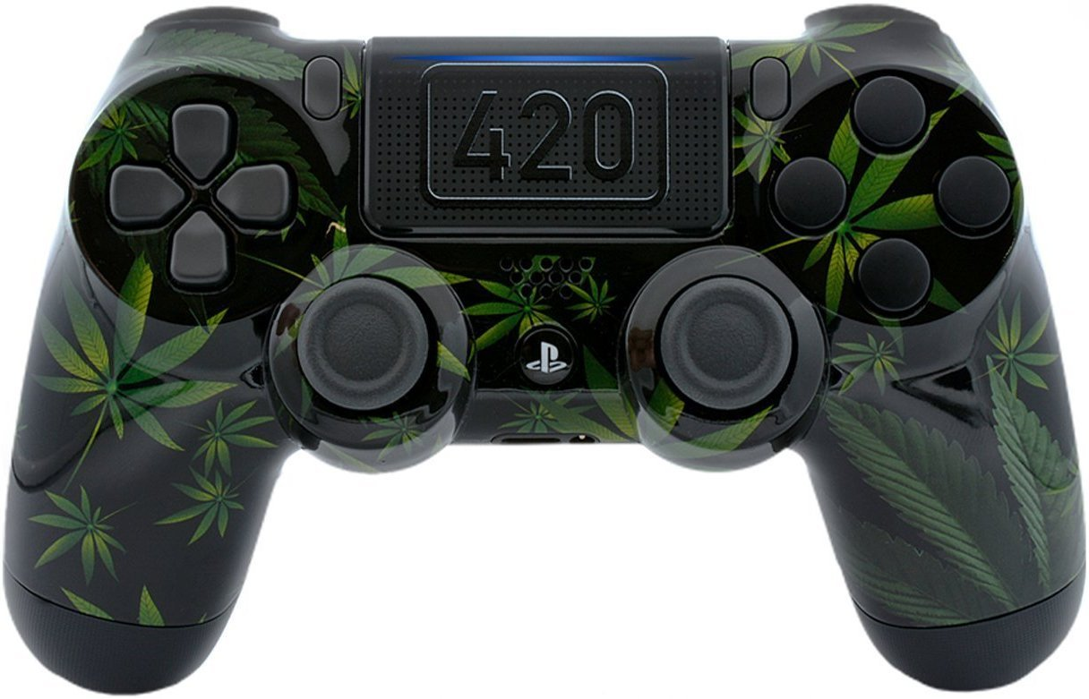 420 Black Custom PS4 PRO Rapid Fire Custom Modded Controller 40 Mods for All Major Shooter Games