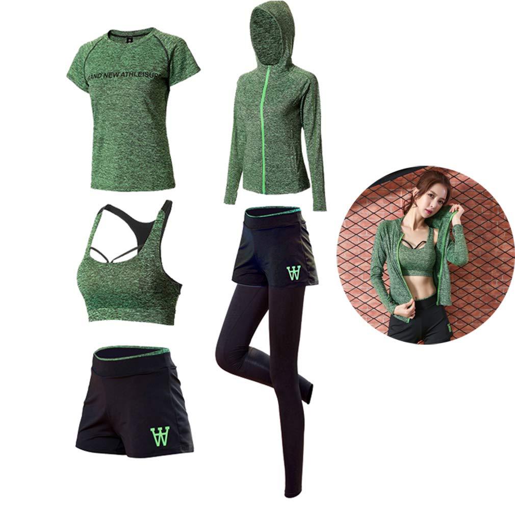 DUBAOBAO Reggiseno Sportivo da Yoga per Donna + Giacca Sportiva + Pantaloni + Sport Manica Corta + Pantaloncini Sportivi, Palestra, Abbigliamento Sportivo, Abbigliamento da Corsa, 3 Colorei,verde,XXL