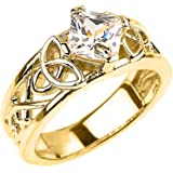 Solid 10k Yellow Gold Celtic Knot Princess Cut CZ Engagement Ring(Size 7)