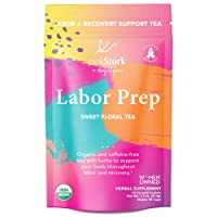 Pink Stork Labor Prep Tea: Sweet Floral, Red Raspberry Leaf Tea, Labor and Delivery + Postpartum Essentials, 30 Cups