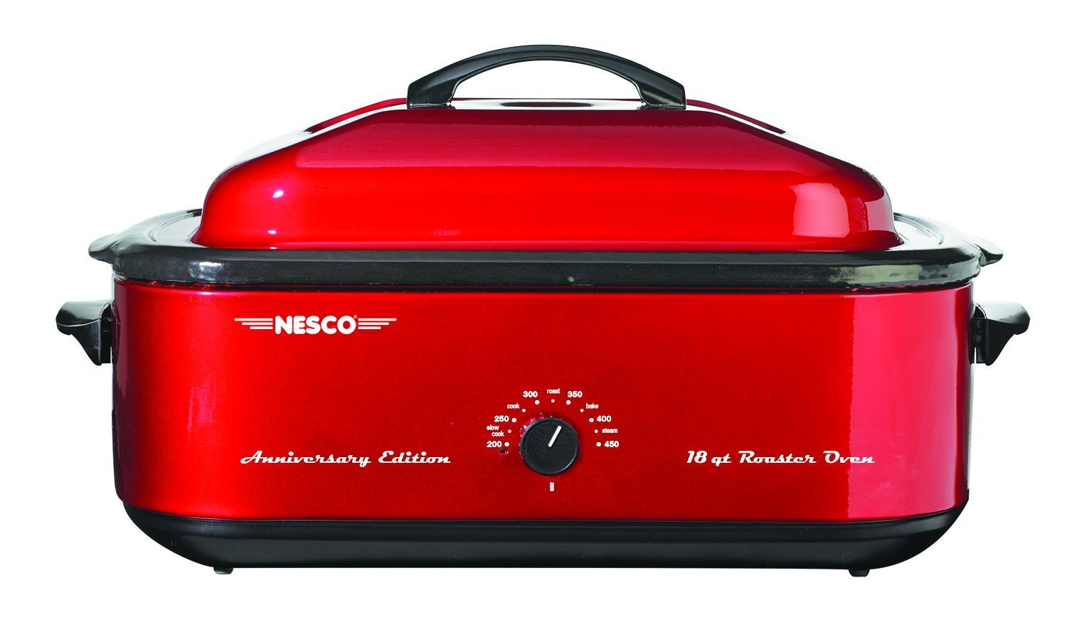 Nesco 4815-12 Roaster Oven with Porcelain Cookwell, 5-Quart, Red