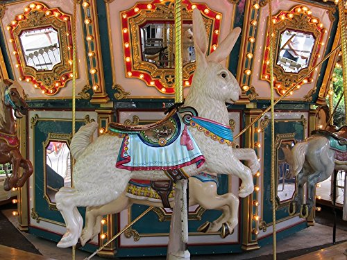 Home Comforts Peel-n-Stick Poster of Merry Go Round Vintage Retro Carousel Wooden Rabbit Poster 24x16 Adhesive Sticker Poster Print (Retro Carousel)
