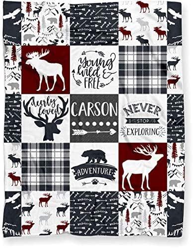 Personalized Woodland Deer Moose Elk Adventure Blanket for Nursery Crib Throw or Toddler Bed | Tribal Boho Baby Patchwork Themed Soft Minky Blanket for Boy or Girl