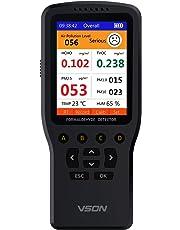 VSON Monitor de calidad de aire inteligente multifuncional Medidor de calidad de aire interior portátil con formaldehído (HCHO) interior TVOC PM2.5 PM1.0 PM10 Detección de temperatura y humedad