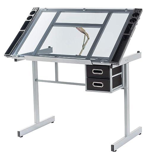 Dawoo Mesa de Pintura de Mesa de Vidrio Ajustable de Textura de ...