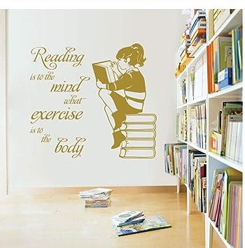 Zjxyz Chica Libros De Lectura Vinilo Mural De Pared ...