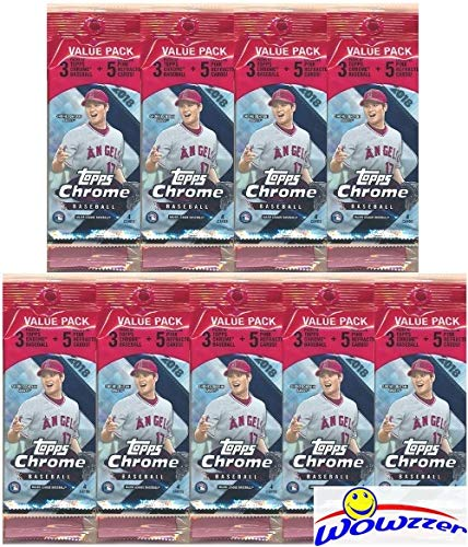 2018 Topps Chrome Baseball Lot of (9) EXCLUSIVE SUPER VALUE FAT PACKS with PINK REFRACTORS PARALLELS! Look for RC's, Refractors & Auto's of Shohei Ohtani, Gleyber Torres, Ronald Acuna & More!