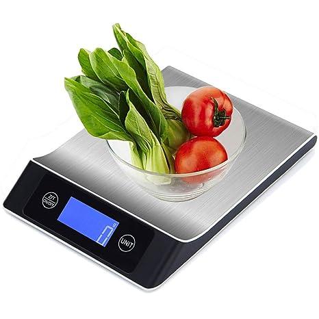LOLIVEVE 15Kg / 1G Balanza De Cocina De Acero Inoxidable Alimentación Dieta Libra Libra Escala Digital