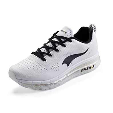 ONEMIX Air Cushion Sports Running Shoes for Men and Women New Wave Casual  Walking Sneakers White