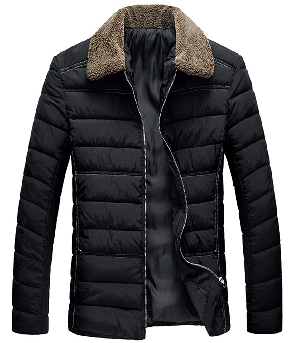 UUYUK Men Faux Fur Collar Quilted Padded Thicken Full Zip Puffer Down Jacket