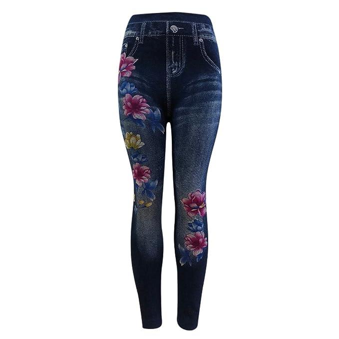 STRIR Vaqueros Ajustados Largo con Bordados para Mujer Skinny Push-Up Pantalones Elástico Jeans Bordados Vaqueros para Mujer
